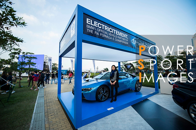 BMW booth at the E-Village during the FIA Formula E Hong Kong E-Prix Round 1 at the Central Harbourfront Circuit on 02 December 2017 in Hong Kong, Hong Kong. Photo by Marcio Rodrigo Machado / Power Sport Images