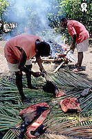 Men preparing the traditional laplap meal, here cooking pork meat on lava stones, Sulphur bay village, Tanna Island, Vanuatu  (Licence this image exclusively with Getty: http://www.gettyimages.com/detail/82064704 )