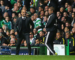 Josep Guardiola manager of Manchester City rages at the fourth official during the Champions League Group C match at the Celtic Park Stadium, Glasgow. Picture date: September 28th, 2016. Pic Simon Bellis/Sportimage