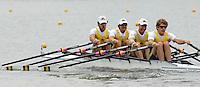 Poznan, POLAND.  2006, FISA, Rowing, World Cup, AUS M4X bow, Chris MORGAN,  Peter HARDCASTLE, Craig JONES, David CRAWSHAY, move  away from  the  start, on the Malta  Lake. Regatta Course, Poznan, Thurs. 15.06.2006. © Peter Spurrier   ...[Mandatory Credit Peter Spurrier/ Intersport Images] Rowing Course:Malta Rowing Course, Poznan, POLAND