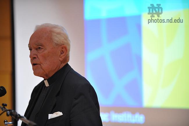 Rev. Theodore Hesburgh, C.S.C. speaks at the Kroc Institute Master's Degree Commencement ceremony, 2009...Photo by Matt Cashore/University of Notre Dame