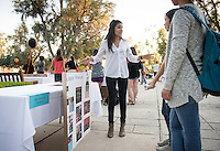 Occidental College student Ximena Santiago '16 shares her InternLA experience working at The GRAMMY Museum during the Career Development Center's Reverse Career Fair, Thorne Hall patio, Sept. 3, 2015.<br /> (Photo by Marc Campos, Occidental College Photographer)