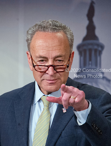 United States Senator Chuck Schumer (Democrat of New York) calls on a reporter as he holds a press conference in the Capitol in Washington, DC on Tuesday, March 22, 2016.  In his prepared remarks the Senator condemned today's bombings in Brussels and called on US Senate Republicans to meet Judge Garland and hold confirmation hearings ad a vote on his nomination to replace Justice Scalia on the US Supreme Court. <br /> Credit: Ron Sachs / CNP<br /> (RESTRICTION: NO New York or New Jersey Newspapers or newspapers within a 75 mile radius of New York City)
