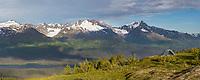 Panorama of tent camp near the Lost Lake Trail, Chugach National Forest, Seward, Alaska.