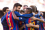 FC Barcelona's Rafinha Alcantara and Gerard Pique  during the La Liga match between Futbol Club Barcelona and Deportivo de la Coruna at Camp Nou Stadium Spain. October 15, 2016. (ALTERPHOTOS/Rodrigo Jimenez)