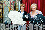 Siobhan Thoma and Nora Finnegan of Kenmare Lace Festival with some of the intricate lace designs for the International Traditional Lace Competition including an Irish crochet lace parasol, Kenmare needlepoint lace and a Carrickmacross lac mantilla.