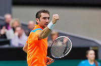 12-02-14, Netherlands,Rotterdam,Ahoy, ABNAMROWTT, Jo-Wilfried Tsonga (FRA)     Marin Cilic (CRO)<br /> Photo:Tennisimages/Henk Koster