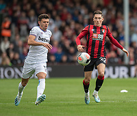 West Ham United's Aaron Cresswell (left) battles for possession with Bournemouth's Harry Wilson (right) <br /> <br /> Photographer David Horton/CameraSport<br /> <br /> The Premier League - Bournemouth v West Ham United - Saturday 28th September 2019 - Vitality Stadium - Bournemouth<br /> <br /> World Copyright © 2019 CameraSport. All rights reserved. 43 Linden Ave. Countesthorpe. Leicester. England. LE8 5PG - Tel: +44 (0) 116 277 4147 - admin@camerasport.com - www.camerasport.com
