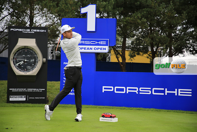 Xander Schauffele (USA) during the Pro-Am at the  Porsche European Open, Green Eagles Golf Club, Luhdorf, Winsen, Germany. 04/09/2019.<br /> Picture Fran Caffrey / Golffile.ie<br /> <br /> All photo usage must carry mandatory copyright credit (© Golffile | Fran Caffrey)