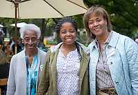 From left, grandmother Bernice Goldsmith, graduate Arielle N'Diaye and her mother Kim Goldsmith-N'Diaye. Graduating seniors and their families and friends attend Brunch with President Jonathan Veitch at Collins House, May 16, 2015. (Photo by Marc Campos, Occidental College Photographer)