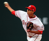 Starting pitcher Yeiper Castillo (17) of the Greenville Drive, Class A affiliate of the Boston Red Sox, in a game against the Delmarva Shorebirds on Opening Day, April 8, 2010, at Fluor Field at the West End in Greenville, S.C. Photo by: Tom Priddy/Four Seam Images