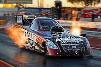 Jan 25, 2009; Chandler, AZ, USA; NHRA funny car driver Del Worsham races down track during testing at the National Time Trials at Firebird International Raceway. Mandatory Credit: Mark J. Rebilas-