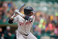 Wisconsin Timber Rattlers center fielder Monte Harrison (3) at bat during a game against the Fort Wayne TinCaps on May 10, 2017 at Parkview Field in Fort Wayne, Indiana.  Fort Wayne defeated Wisconsin 3-2.  (Mike Janes/Four Seam Images)