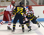 Brandon Hickey (BU - 4), Mathieu Tibbet (Merrimack - 22), Patrick Curry (BU - 11), Ryan Cook (Merrimack - 2) - The visiting Merrimack College Warriors defeated the Boston University Terriers 4-1 to complete a regular season sweep on Friday, January 27, 2017, at Agganis Arena in Boston, Massachusetts.The visiting Merrimack College Warriors defeated the Boston University Terriers 4-1 to complete a regular season sweep on Friday, January 27, 2017, at Agganis Arena in Boston, Massachusetts.