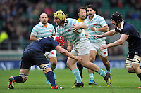 Max Montgomery of Cambridge University takes on the Oxford University defence. The Varsity Match between Oxford University and Cambridge University on December 10, 2015 at Twickenham Stadium in London, England. Photo by: Patrick Khachfe / Onside Images