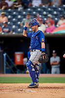 Durham Bulls catcher Mac James (28) during an International League game against the Toledo Mud Hens on July 16, 2019 at Fifth Third Field in Toledo, Ohio.  Durham defeated Toledo 7-1.  (Mike Janes/Four Seam Images)
