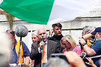 Former General Antonio Pappalardo, chief of the movement Orange vests during his speech<br /> Roma June 2nd 2020. Italy, Piazza del Popolo. Demonstration of the right movement 'Orange Vests' against the government in occasion of the anniversary of the Republic. The protesters wear orange gilet<br /> Photo Samantha Zucchi Insidefoto