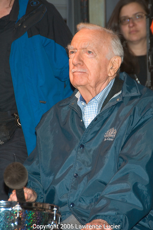 Retired newscaster Walter Cronkite participates in a drum circle at the Green Apple Music and Arts Festival at Grand Central Station April 21, 2006 in New York City. . (Pictured: Walter Cronkite)