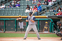 Shane Peterson (21) of the Colorado Springs Sky Sox at bat against the Salt Lake Bees in Pacific Coast League action at Smith's Ballpark on May 24, 2015 in Salt Lake City, Utah.  (Stephen Smith/Four Seam Images)