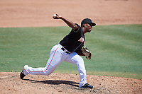 Jupiter Hammerheads relief pitcher Esmerling De La Rosa (34) delivers a pitch during a game against the Palm Beach Cardinals on August 5, 2018 at Roger Dean Chevrolet Stadium in Jupiter, Florida.  Jupiter defeated Palm Beach 3-0.  (Mike Janes/Four Seam Images)