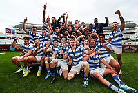 St Kents celebrate. Auckland 1A 1st XV Final, St Kents v Sacred Heart, Eden Park Auckland, New Zealand, Saturday 26 Auguat 2017. Photo: Simon Watts/www.bwmedia.co.nz