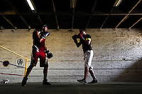 Geraldin Hamann, a young Colombian boxer, is seen during a boxing sparring workout with a male team mate in the boxing gym in Cali, Colombia, 27 June 2013. During the recent years, Kina Malpartida, a Peruvian female professional boxer, has won the World Championship title several times and so she has become a sporting idol and an inspiration for a generation of young girls throughout Latin America. Working out hard in poorly equipped gyms, they dream of becoming a boxing star. The Cauca Valley and the Caribbean coast are believed to be a home of the most talented female boxers in Colombia.