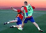 Spain's Asier Illarramendi (l) and Gerard Deulofeu during training session. March 20,2017.(ALTERPHOTOS/Acero)