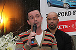 Gary Kelly and Paul McGrath at the Launch of the Monster Car Draw in aid of the Gary Kelly Centre at Smiths Garage....Photo NEWSFILE/Jenny Matthews.