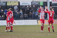 Accrington players celebrate their side's victory at full time of the Sky Bet League 2 match between Newport County and Accrington Stanley at Rodney Parade, Newport, Wales on 28 March 2016. Photo by Mark  Hawkins.