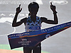 Mary Keitany of Kenya crosses the finish line in Central Park to win the women's portion of the New York City Marathon on Sunday, Nov. 4, 2018.