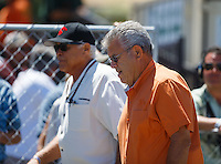 Jul 30, 2016; Sonoma, CA, USA; NHRA former drivers Don Prudhomme (left) and Ed McCulloch during qualifying for the Sonoma Nationals at Sonoma Raceway. Mandatory Credit: Mark J. Rebilas-USA TODAY Sports