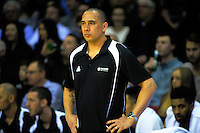 Tall Blacks coach Paul Henare watches the FIBA Oceania men's tournament basketball match between New Zealand and Australia at TSB Bank Arena, Wellington, New Zealand on Tuesday, 18 August 2015. Photo: Dave Lintott / lintottphoto.co.nz
