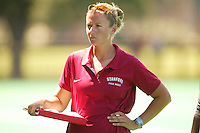 27 August 2005: Head coach Lesley Irvine during Stanford's 2-1 overtime loss to Miami (Ohio) at the Varsity Turf Field in Stanford, CA.