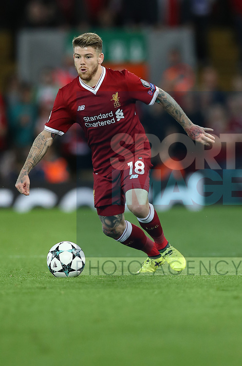 Alberto Moreno of Liverpool during the Champions League playoff round at the Anfield Stadium, Liverpool. Picture date 23rd August 2017. Picture credit should read: Lynne Cameron/Sportimage