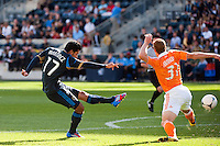 Josue Martinez (17) of the Philadelphia Union takes a shot. The Philadelphia Union defeated the Houston Dynamo 3-1 during a Major League Soccer (MLS) match at PPL Park in Chester, PA, on September 23, 2012.