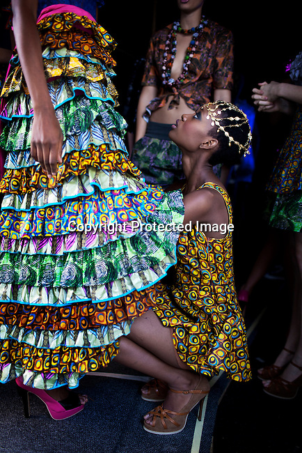 JOHANNESBURG, SOUTH AFRICA - MARCH 31: Models wait backstage before a show with the designer Liz Ogumbo at Joburg Fashion Week on March 31, 2012, in Johannesburg, South Africa. (Photo by Per-Anders Pettersson)