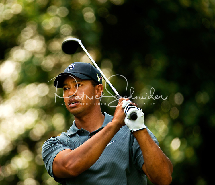 Golfer Tiger Woods plays the course during the Quail Hollow Championship 2009 Pro-Am in Charlotte, North Carolina. The Pro-Am is held as part of the professional championship, formerly called the Wachovia Championship, which is a top event on the PGA Tour, attracting such popular golf icons as Tiger Woods, Vijay Singh and Bubba Watson.