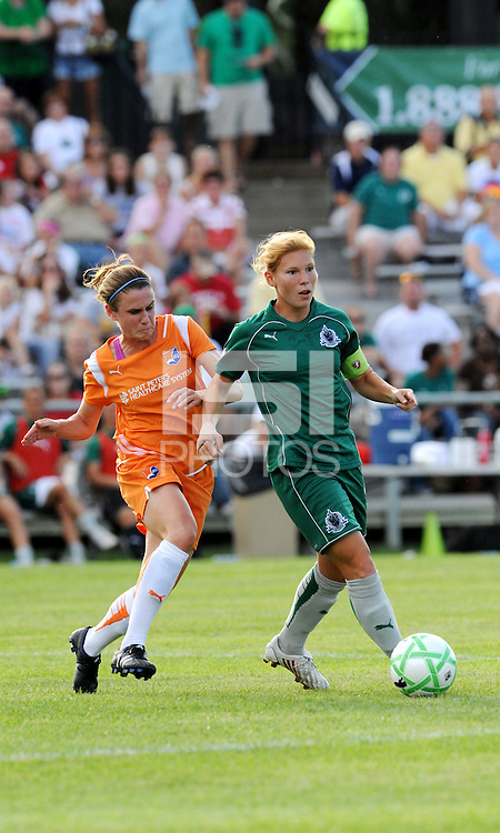 Lori Chalupy (green), Heather O'Reilly..Sky Blue FC defeated Saint Louis Athletica 1-0 at Anheuser Busch Soccer Park, Fenton, Mo.