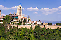 Catedral and city wall from W, Segovia, Spain