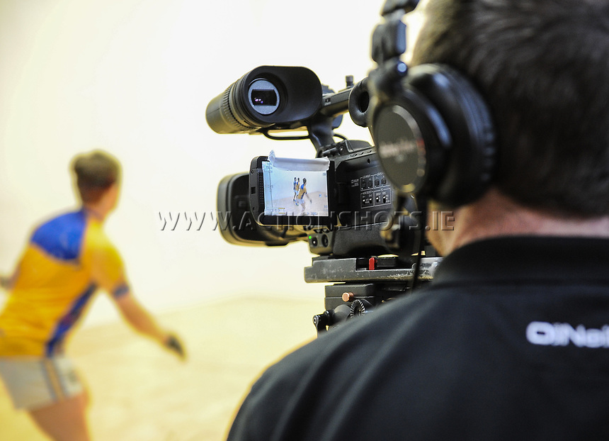07/04/2018; GAA Handball O&rsquo;Neills 40x20 Championship Mens Senior Final - Cavan (Paul Brady/Michael Finnegan v Clare (Diarmuid Nash/Colin Crehan); Kingscourt, Co Cavan;<br /> General view of television coverage of the match.<br /> Photo Credit: actionshots.ie/Tommy Grealy