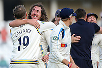 Picture by Alex Whitehead/SWpix.com - 12/09/2014 - Cricket - LV County Championship Div One - Nottinghamshire CCC v Yorkshire CCC, Day 4 - Trent Bridge, Nottingham, England - Yorkshire's Gary Balance and Ryan Sidebottom celebrate.