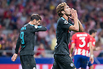 Atletico de Madrid's XXX and Chelsea's Alvaro Morata and Marcos Alonso during UEFA Champions League match between Atletico de Madrid and Chelsea at Wanda Metropolitano in Madrid, Spain September 27, 2017. (ALTERPHOTOS/Borja B.Hojas)