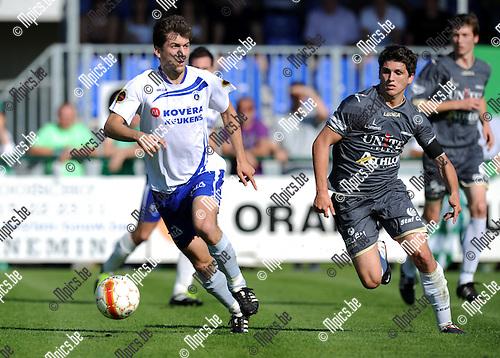 2011-09-02 / Voetbal / seizoen 2011-2012 / KSK Heist - Lommel United / Jeroen Vanderputte (L, Heist) met Jarno Molenberghs..Foto: Mpics