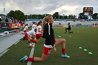 Cary, NC - Saturday April 22, 2017: Allie Long prior to a regular season National Women's Soccer League (NWSL) match between the North Carolina Courage and the Portland Thorns FC at Sahlen's Stadium at WakeMed Soccer Park.