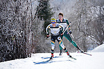 10 MAR 2016:  Jake Brown (4) of Northern Michigan University competes in the 10K skate during the NCAA Division I Men's and Women's Skiing Championships take place at Howelsen Hill Ski Area in Steamboat Springs, CO.    Brown placed 9th in the event.  Jamie Schwaberow/NCAA Photos