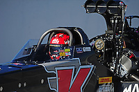 Feb. 10, 2012; Pomona, CA, USA; NHRA top fuel dragster driver Doug Kalitta during qualifying at the Winternationals at Auto Club Raceway at Pomona. Mandatory Credit: Mark J. Rebilas-