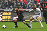 06.10.2019, Borussia-Park - Stadion, Moenchengladbach, GER, DFL, 1. BL, Borussia Moenchengladbach vs. FC Augsburg, DFL regulations prohibit any use of photographs as image sequences and/or quasi-video<br /> <br /> im Bild v. li. im Zweikampf Jan Moravek (#14, FC Augsburg) Christoph Kramer (#6, Borussia Moenchengladbach) <br /> <br /> Foto © nordphoto/Mauelshagen