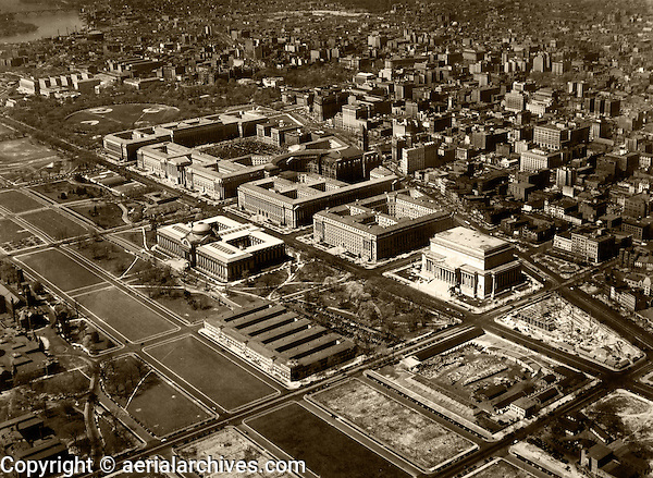 historical aerial photograph Federal Triangle, Washington, DC, 1937