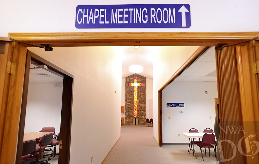 NWA Democrat-Gazette/BEN GOFF @NWABENGOFF<br /> A view the chapel meeting room on Sunday Nov. 8, 2015 at Bella Vista Lutheran Church. The church held a dedication ceremony Sunday for their recently completed 10,500 square foot expansion, which includes a new fellowship hall upstairs and classroom space downstairs. The original 1989 sanctuary, which had served as a fellowship hall before the expansion, was also renovated to form the chapel meeting room, two multi-purpose rooms and space for the church's food pantry.