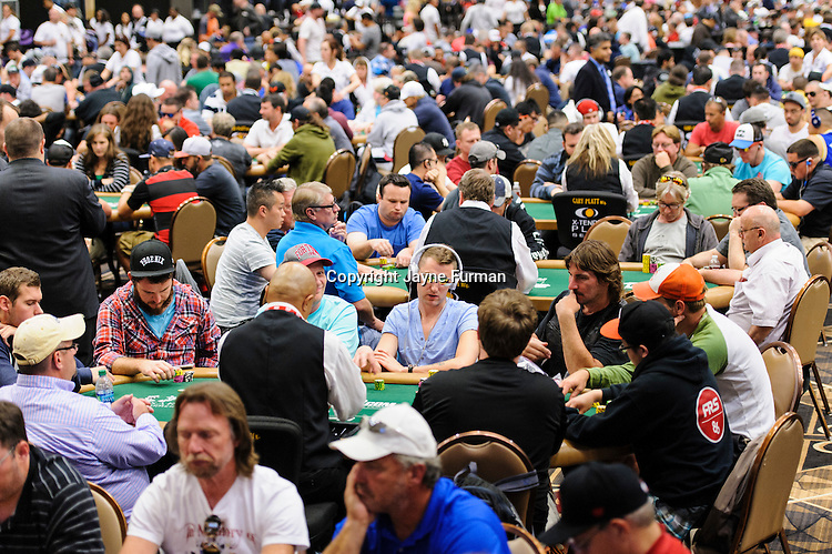 The Pavilion Room is packed wall to wall with players in Event #51: $1,500 No-Limit Hold'em Monster Stack